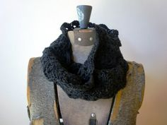 Infinity Scarf  crocheted lace  Charcoal Grey by threebirdsunite, $32.00