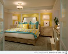 15 Home Design Lover. Laura Miller, ASID Yellow is the main color used for this bedroom and adding turquoise made it a match made in heaven! The grey carpet evened out the combo.