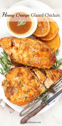 Orange Chicken Breast Recipe, Orange Glazed Chicken, Baked Chicken Breast, Baked Chicken Recipes, Half Chicken, Chicken Breasts, Orange Chicken Recipe Grilled, Roasted Chicken, Orange Juice Chicken Recipe