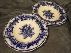 Pair of Antique Flow Blue Rimmed Bowls by ToEverySeason on Etsy, $25.00