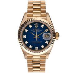 ROLEX Blue Vignette & Diamond Dial Yellow Gold Ladies Datejust