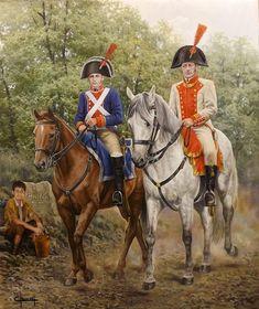 Camino hacia Bailén 1808. Un Coronel del Regimiento Córdoba y un Cabo Primero del Regimiento Farnesio - José Ferre Clauzel