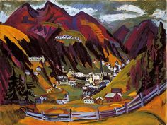 """igormaglica: """" Ernst Ludwig Kirchner (1880-1938), Blick auf Davos / Look at Davos, 1924. oil on canvas, 91,5 x 120,5 cm """""""