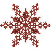 Red Glitter Snowflake Ornaments - Large