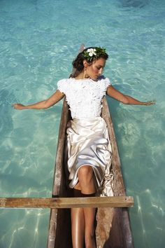 Lovely in White Floating on Water