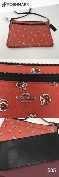 NWT Coach Rose East West Pop Out Crossbody Bag New with Tags F56680 Watermelon Rose East West Pop Out CrossBody Bag.  Black Couch Pouch Pops Out. Measures 10.5x7.25. No trades Coach Bags Crossbody Bags