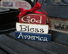 4th of July wood blocks- God Bless America mini stacker on Etsy, $11.00