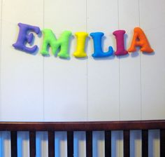 Felt Name Banner Nursery Garland Bunting / Personalized Custom Sign / Baby Nursery Decor / Kids Room / Hanging Wall Letters - Multi Color by QuarterLifeLuck