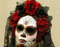 pink day of the dead masks | Viuda Negra Mask for Day of the Dead/Dia de los Muetos/Cosplay