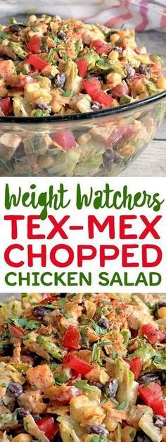 Try This Weight Watchers Tex-Mex Chopped Chicken Salad. Weight Watchers Salat, Weight Watcher Dinners, Weight Watcher Recipes, Weight Watchers Sides, Weight Watchers Appetizers, Weight Watchers Lunches, Ww Recipes, Mexican Food Recipes, Cooking Recipes