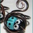 Ladybug Adjustable Ring! Turquoise Blue Lampwork Lady Bug and Copper