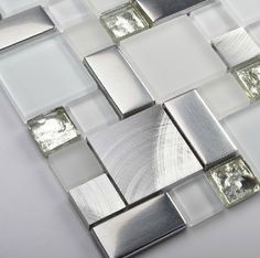 Glass mosaic kitchen backsplash tile SSMT104 silver stainless steel metal mosaics crystal white glass mosaic bathroom wall tiles