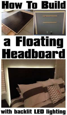 If you have seen some of the pictures in magazines with those expensive LED lit bed headboards and wondered how they are made, look no further. This DIY Floating Headboard project is cheap to build and will not take a