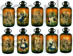Alice in Wonderland in a Bottle....Antique Medicine Bottle with 10 views Inside....Unique OOAK  Digital Collage Sheet. $1.75, via Etsy.