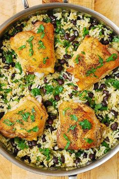 One-Pot Chicken Thighs with Cilantro-Lime Black Bean Rice