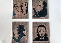 80s horror icons wood carving. horror decor silhouette wooden
