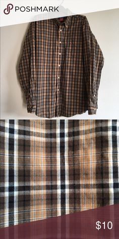 Men's Button up Shirt Men's Brown and White Button up Shirt. Size Large. Shirts Dress Shirts