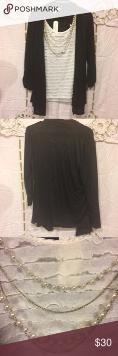 French laundry top with tank and jewelry Woman's size petite medium black and white French Landry blouse with jewelry. Tank and jewelry is attached. New with tags. Chest measures 20 inches flat across. 3/4 arms measure 13 inches under arm. Tank part is 25 inches long. Jewelry part is removable. french laundry  Tops Blouses