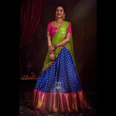Want to shop super pretty and affordable half sarees of Do check out this brands collection. Lehenga Designs Latest, Half Saree Designs, Silk Saree Blouse Designs, Dress Designs, Half Saree Lehenga, Lehnga Dress, Banarasi Lehenga, Indian Lehenga, Half Saree Function