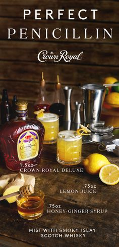 If you've got spring fever, we've got just what the doctor ordered. Fix you and a friend a cocktail made to be enjoyed outdoors. To make a Penicillin, combine 1.5 oz Crown Royal Deluxe, 0.75 oz lemon juice, and 0.75 oz honey ginger syrup in a cocktail shaker and add ice. Shake and strain into a rocks glass over fresh ice and garnish with candied ginger.