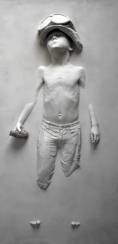 "White -  ""Boy Soldier White"" -- Schoony  -  figurative - sculpture - Life cast resin composition"