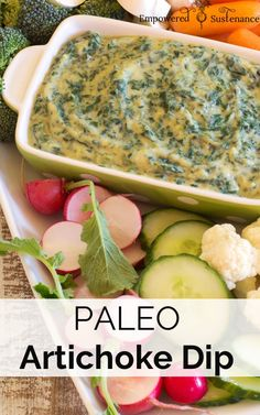 Paleo spinach artichoke dip, made without dairy and packed with veggies! No one guessed that it was paleo.