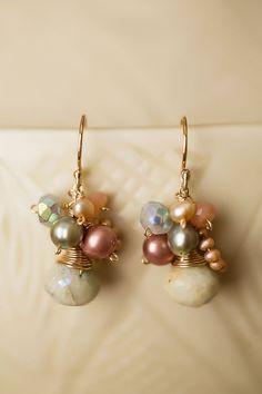 Anne Vaughan Designs - Simple Elegance Aquamarine Cluster Gemstone Dangle Earrings, $44.00 (http://www.annevaughandesigns.com/simple-elegance-aquamarine-handmade-gemstone-dangle-earrings/)
