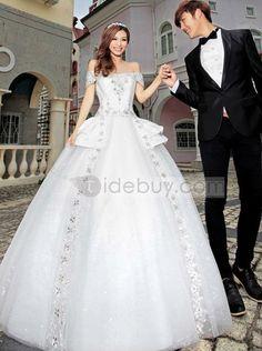 見事なボールドレスオフショルダー床長さ花ウェディングドレス
