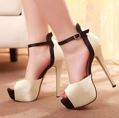 Classy Peep toe Ankle Strap High Heel Fashion Sandals