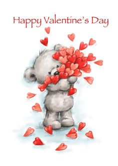 Cute bear holding lots of hearts for Happy Valentine's Day card , Happy Valentine Day Quotes, Valentine Day Cards, Be My Valentine, Valentine Gifts, Valentines Watercolor, Tatty Teddy, Valentine's Day Quotes, Cute Art, Birthday Cards