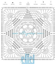How to Crochet and Solid Granny Square - Crochet Ideas : Crochet with cute crochet blocks with Vrouekeur and Elle Yarns. Here is crochet block pattern Motif Mandala Crochet, Crochet Mandala Pattern, Granny Square Crochet Pattern, Crochet Chart, Crochet Stitches Patterns, Crochet Diagram, Crochet Squares, Crochet Ideas, Crochet Blocks