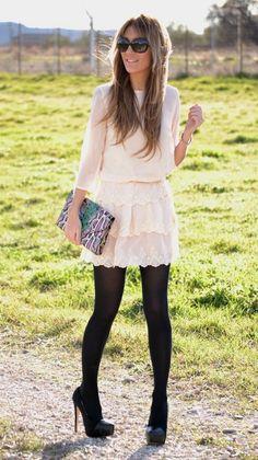Beautiful lace dress with tights / pi?kna koronkowa sukienka skomponowana z rajstopami Fall Outfits, Casual Outfits, Cute Outfits, Look Fashion, Womens Fashion, Fashion Trends, Dress Fashion, Lace Dress, Dress Up