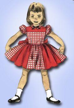 1950s Original Sweet Little Girls Dress Pattern Sz 8   eBay