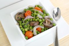 The Garden Grazer: Roasted Mushrooms with Peas, Tomato, Onion