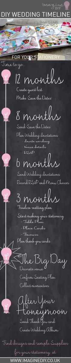 DIY wedding planner - timeline for your stationery. DIY wedding stationery and invitations supplying brides to be, craft addicts and wholesalers. Be inspired to get creative with our fantastic range.
