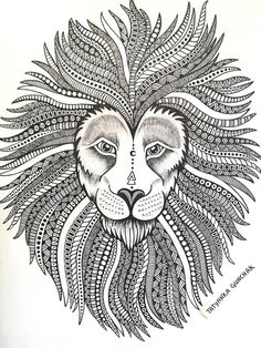 Lion by Tatyanka-Gunchak on DeviantArt Girl Drawing Sketches, Doodle Art Drawing, Illustration Art Drawing, Zentangle Drawings, Cool Art Drawings, Mandala Drawing, Buddha Drawing, Drawing Lips, Mandala Doodle