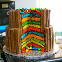Fun! > Double- Layer Rainbow Kit Kat Cake! Can you say, diabetes? But oh so delishhh