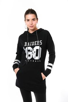 e5312a1b Amazon.com: NFL Women's Oakland Raiders Tunic Hoodie Pullover Sweatshirt  Terry, Large,