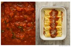 Manicotti - italian crepes stuffed with ricotta