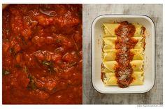 Manicotti - italian crepes stuffed with ricotta