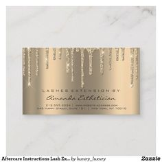 Aftercare Instructions Lash Extension Dips Glitter Business Card - Stand out from your competition. Makeup Business Cards, Business Cards Layout, Salon Business Cards, Business Card Design, Microblading Aftercare, Glitter Eyebrows, Sparkly Makeup, Lash Room, Bussiness Card