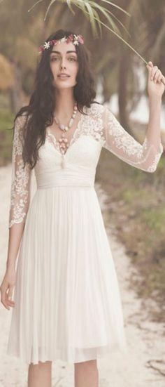 Long Sleeves Wedding Dresses,A Line Wedding Dress, Chiffon Bridal Dresses, Simple Wedding Dresses
