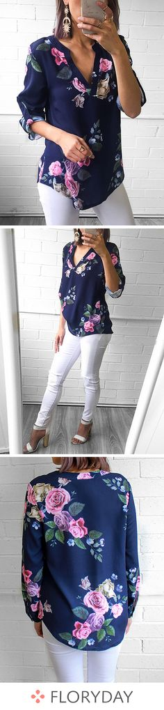 Floral Polyester V-Neckline Long Sleeve Blouses floral blouse floral tops pol Top Fashion Hairstyles Casual Outfits, Cute Outfits, Fashion Outfits, Womens Fashion, Dress Fashion, Floral Tops, Floral Blouse, Autumn Fashion Casual, Casual Fall