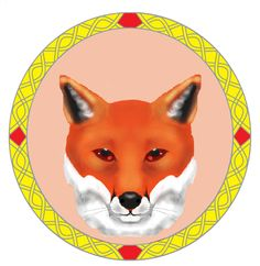 Digitally created fox within Celtic knot  created by Crystella Poupard.