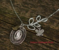 Silver Cowboy Hat & Branch Necklace Pendant  by JamiesQuilting, $18.00