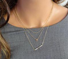 Gold Layered Necklaces Set Set of 3 Layered by LAminiJewelry