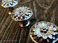 Round Matte Nickel Sunflower Design Decorative by MagicalBeansHome