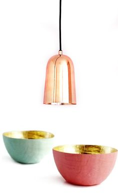 bodie & fou freja copper pendant light; and Paper Mache Bowl in Melon and Gold from etco. // sfgirlbybay