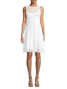 Nanette Lepore Flower Child Eyelet Dress In White White Eyelet Dress, Nanette Lepore, Dress Outfits, Dresses, World Of Fashion, Mock Neck, Child, Clothes For Women, Flower