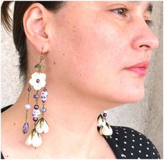 beige flowers earringscrochet flower earringsboho por Marmotescu